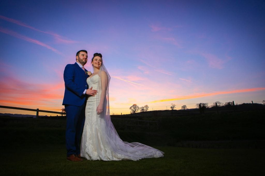 Bride and Groom under the sunset