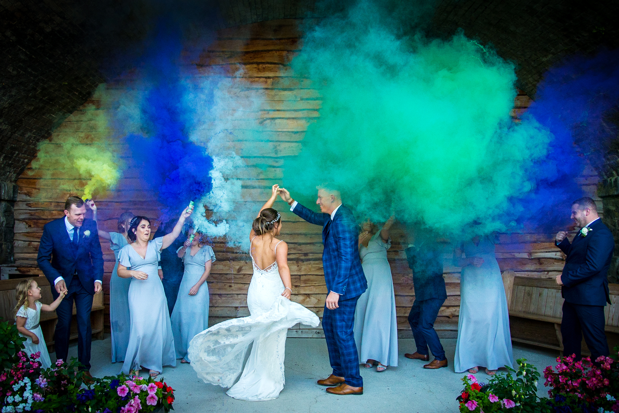 Probably the most 'of-the-moment' shot of the season; Smokebombs photography by Stacey Oliver Photography